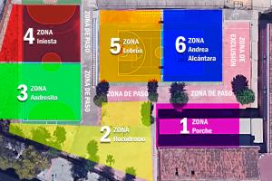 Zonas de división del patio de recreo